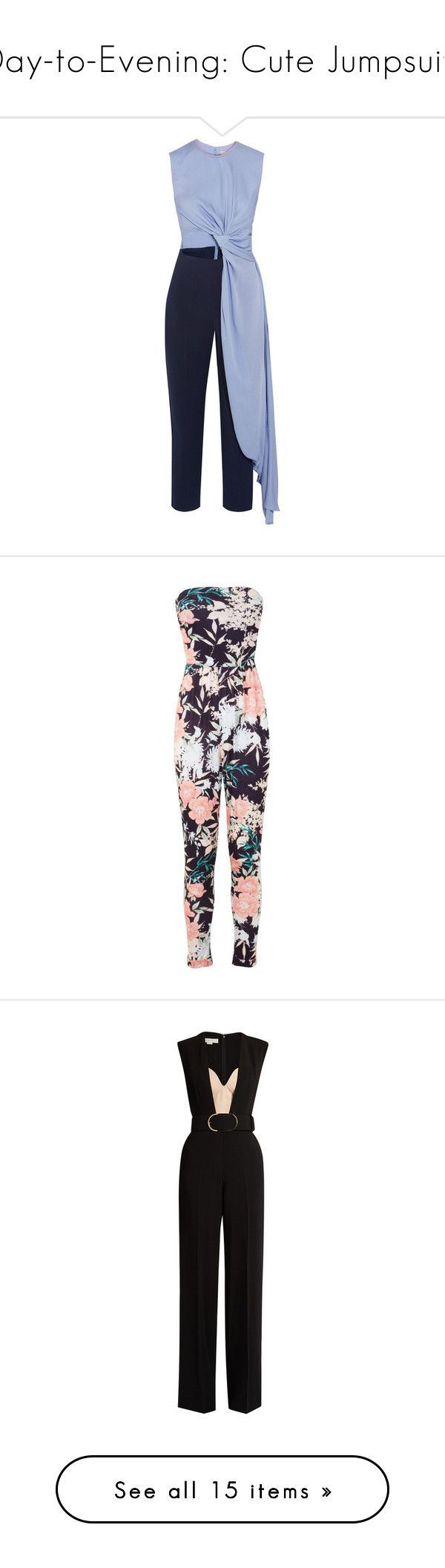 """""""Day-to-Evening: Cute Jumpsuits"""" by polyvore-editorial ❤ liked on Polyvore featuring jumpsuits, jumpsuit, dresses, rompers, jumper, navy, playsuit jumpsuit, blue jumpsuit, cutout romper and tailored jumpsuit"""