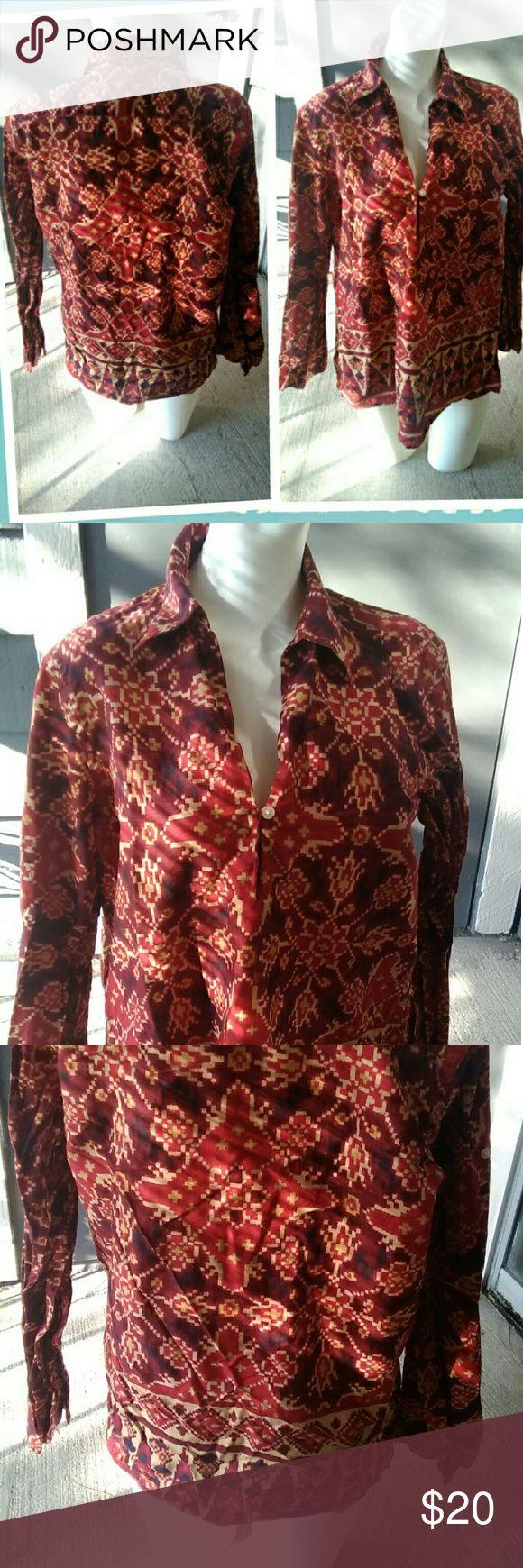 Tribal shirt Long sleeve Tops Blouses