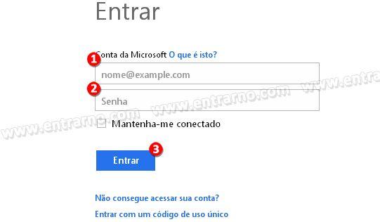 tela de email login no hotmail
