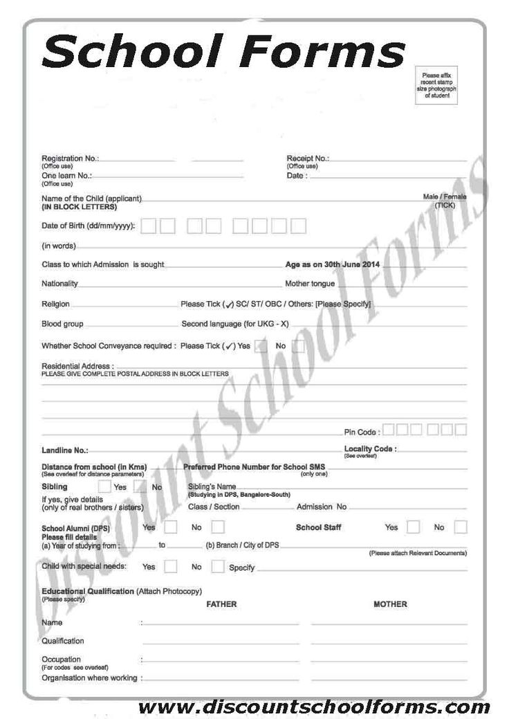 123 best School Forms images on Pinterest Schools, Education and - admission form format for school