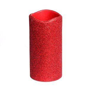 DFL Flameless ršŠel Wax Led Bougies piliers avec minuterie avec Glitter poudre, rouge, pour le jour de la Saint-Valentin DšŠcoration…
