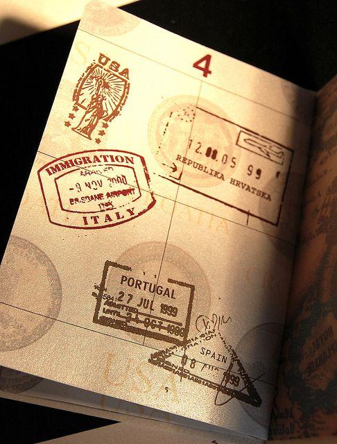 Vintage passport invitation - stamp page