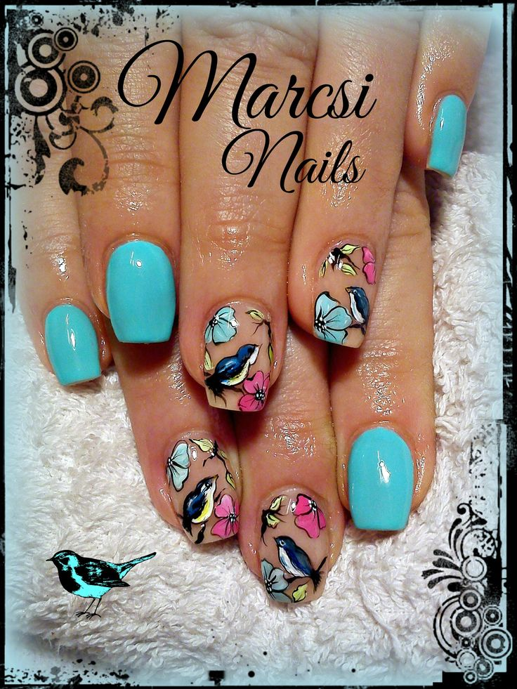 Bird nail art design with hand painting% Bird and colorful flower nail% bird nails
