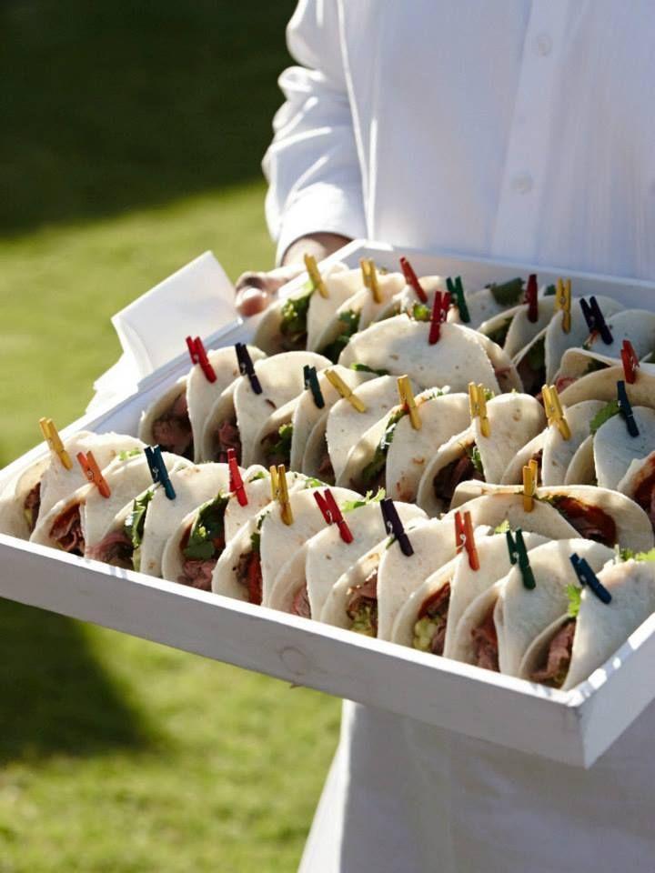 food presentation concept tortillia's met pastrami? en rucola appel