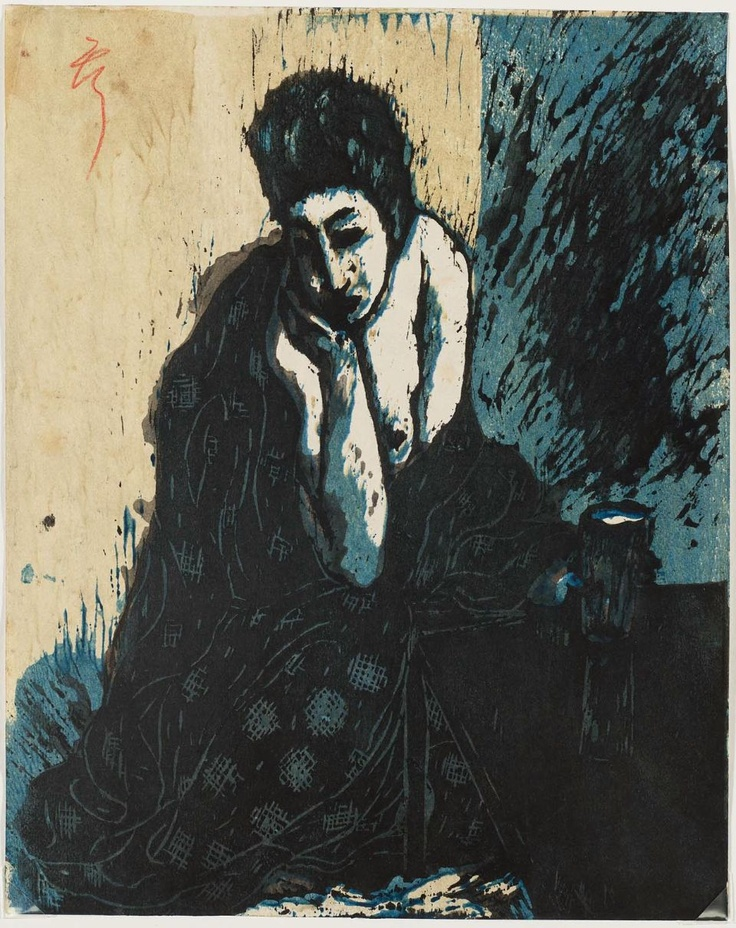 Koshiro Onchi  Woman with Hand on Chin, 1913  woodblock print