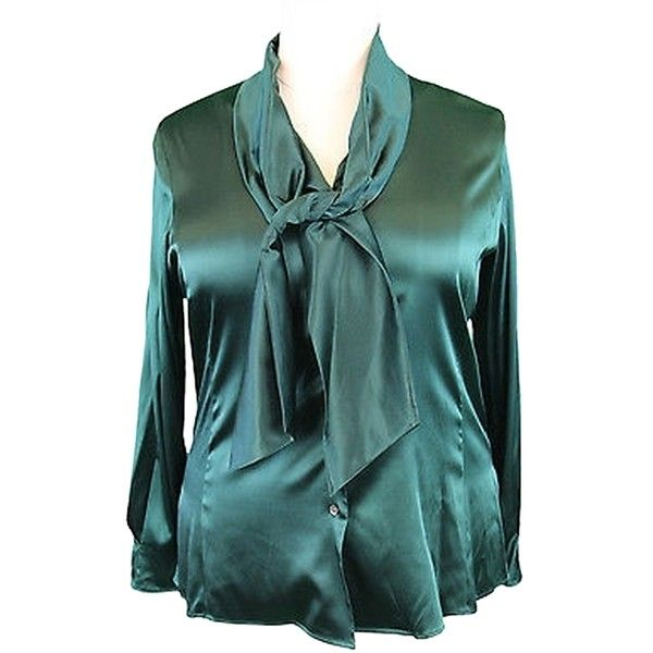 Pre-owned Marina Rinaldi By Maxmara Gioele Forest Green Attached Neck... (14255 RSD) ❤ liked on Polyvore featuring tops, blouses, forest green, green silk blouse, women plus size tops, silk necktie, neck tie blouse and tie neck blouse