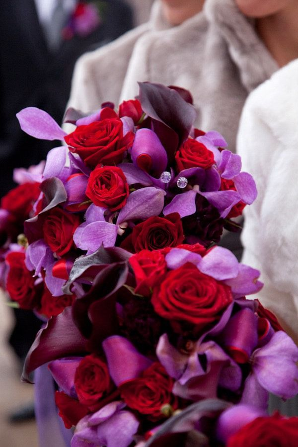 Love this winter wedding and gorgeous bouquets. www.jennifklementti.net www.flowersandsense.com www.freshoccasion.comColors Combos, Red Bouquets, Red And Purple Wedding Flower, Red Rose, Red Winter Wedding, Purple And Red Wedding Ideas, Purple Bouquets, Bouquets Colors, Red And Purple Wedding Ideas