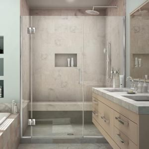 DreamLine Unidoor-X 58 in. to 58-1/2 in. x 72 in. Frameless Pivot Shower Door in Chrome D1302272-01 at The Home Depot - Mobile