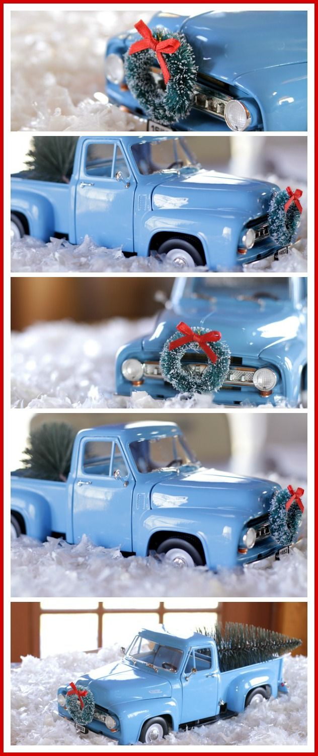 Here's a fun way to put together a Christmas coffee table or side table vignette using children's old toys.