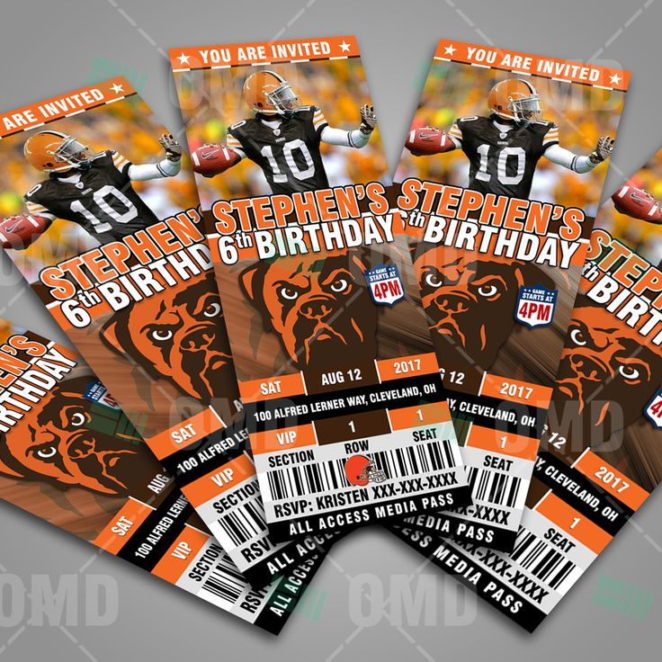 Cleveland Browns Ticket Style Sports Party Invitations