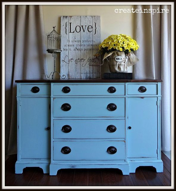 painted furniture vintage buffet aqua, painted furniture, shabby chic