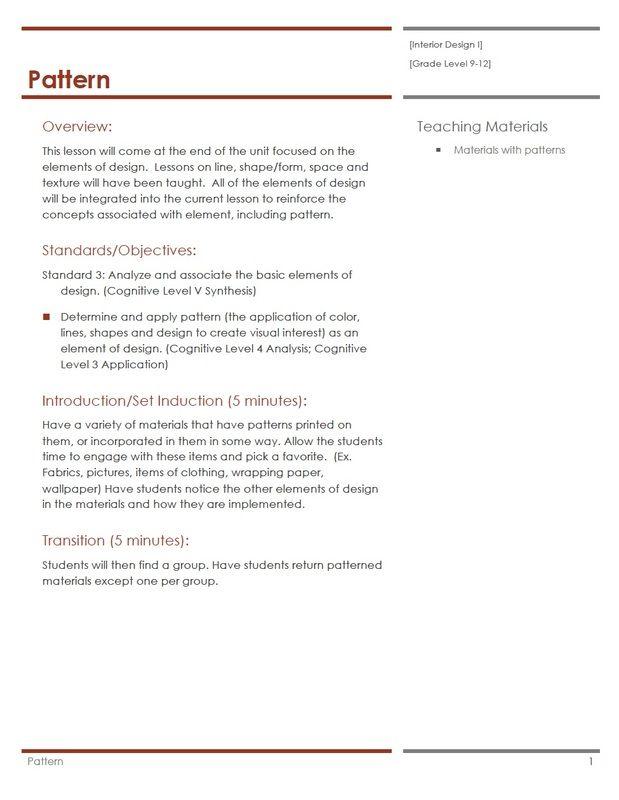 Pattern Lesson Plan Interior Design Course Pinterest