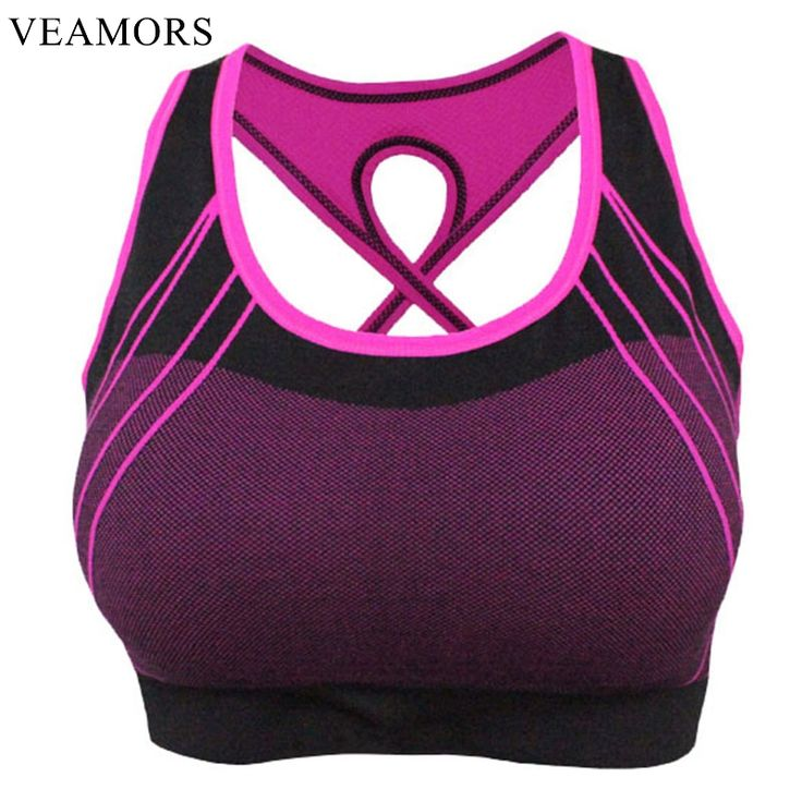 VEAMORS Sexy Women Cross Back Strap Sport Bra,Ladies Push Up Bras Seamless Running Gym Vest,Quick Dry Fitness Breathable Tops