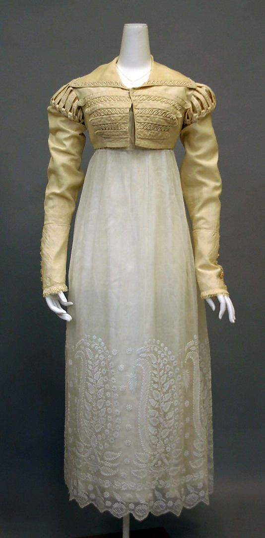 Dress with Spencer 1820, British, Made of silk and cotton (Gothic Regency)