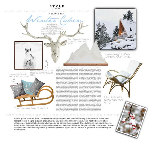 """""""Winter Portrait- Winter Cabin"""" by elisabetta-negro ❤ liked on Polyvore featuring interior, interiors, interior design, home, home decor, interior decorating, Sika, Pier 1 Imports, Oris and Pottery Barn"""