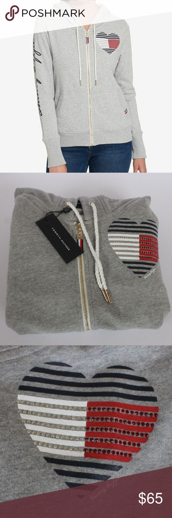 Tommy Hilfiger Embellished  Hoodie SOLD OUT style Dare I say this one is my favorite, so soft and cozy. Tommy Hilfiger embellished lined gray hoodie. Studded heart graphic at front; logo print at sleeve; kangaroo pocket; fleece lining. SOLD OUT style. Tommy Hilfiger Tops Sweatshirts & Hoodies