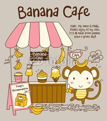 Vector Cute Monkey and Banana Cafe