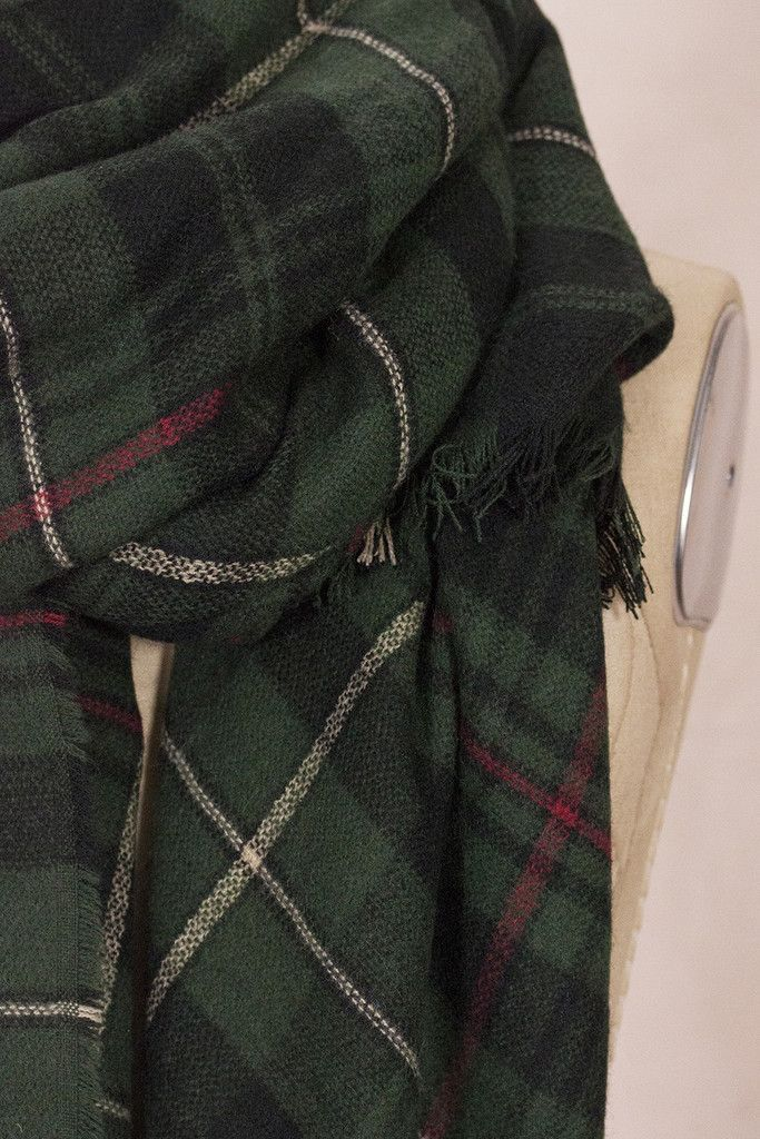 Plaid Blanket Scarf - Hunter Green Contents- 30% Wool / 70% Acrylic Dimensions…
