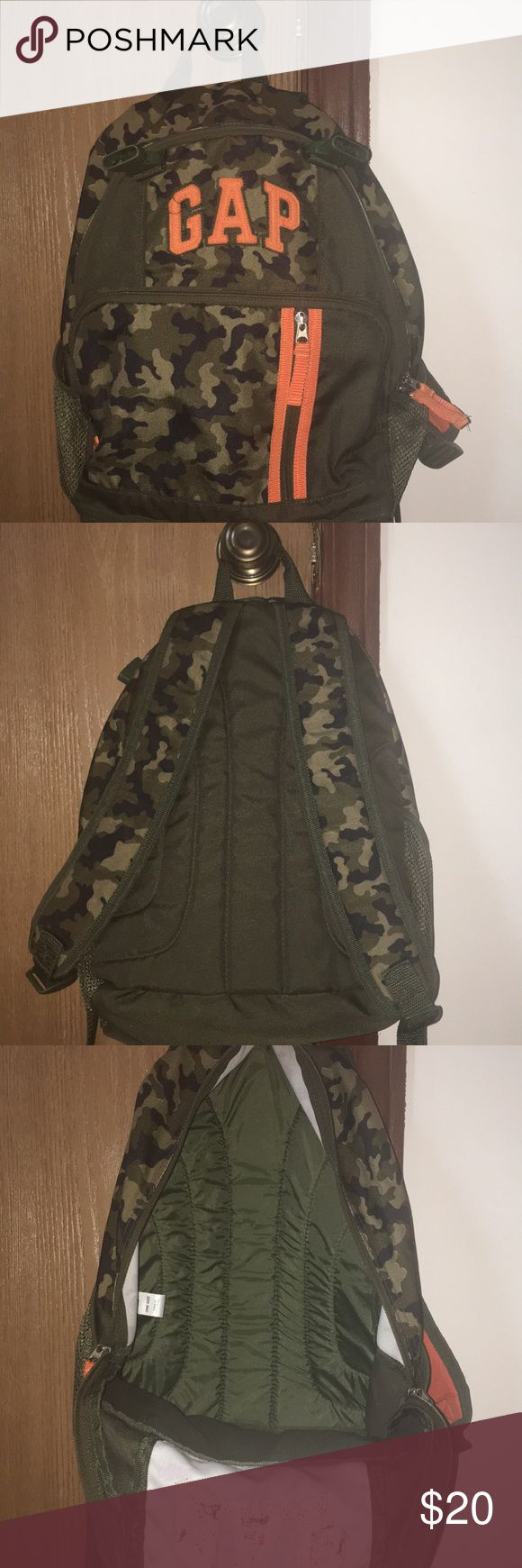 Gap camouflage backpack This backpack is in like new condition. My son carried it for a few months during preschool, before he got a new bag. It's the perfect size for a preschooler or kindergartener. Comes from a clean pet/smoke free home. GAP Accessories Bags