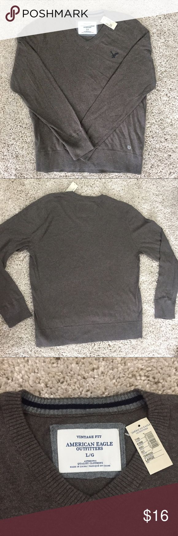 NWT Grey/brown Men's V neck Sweater NWT American Eagle grey/brown vneck sweater American Eagle Outfitters Sweaters V-Neck
