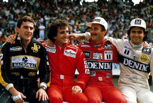 Ayrton Senna Alain Prost Nigel Mansell Nelson Piquet 1986 by Zip250, via Flickr