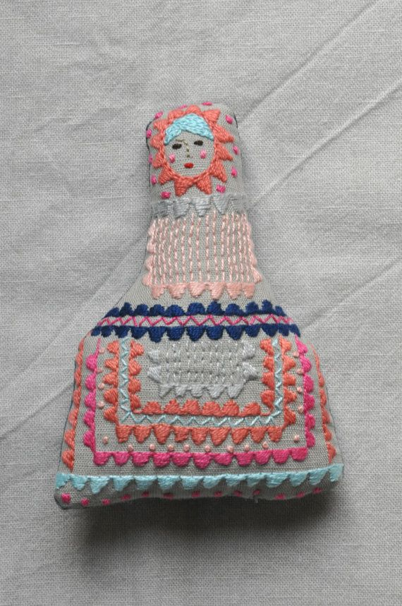 Handmade fabric embroidered doll ESZTERDA Bambino by ESZTERDArte