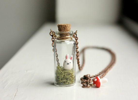 Bunny Terrarium Necklace - mini glass bottle pendant, miniature animal necklace, woodland forest moss terrarium, kawaii, toadstool, Usagi