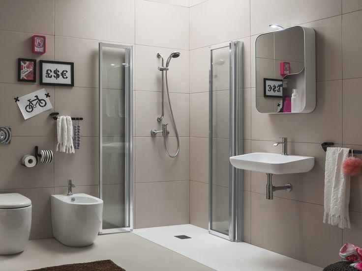 Cabine de duche de canto com porta sanfonada Coleção Time by ARBLU