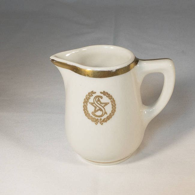 """Individual Creamer Shamrock Hotel Crested In Coin Gold with the """"S"""" And Star Within A Wreath Houston Texas Restaurant Hotel Ware 1950s http://etsy.me/2BU2CKg #vintage #restaurantware #shamrockhotel"""