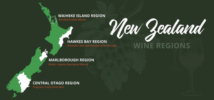 A useful map of four of New Zealand's  most iconic wine regions - all of which we visit on our guided tours.