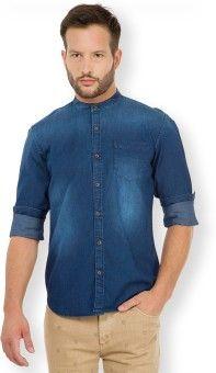 HIGHLANDER Men's Solid Casual Dark Blue Shirt