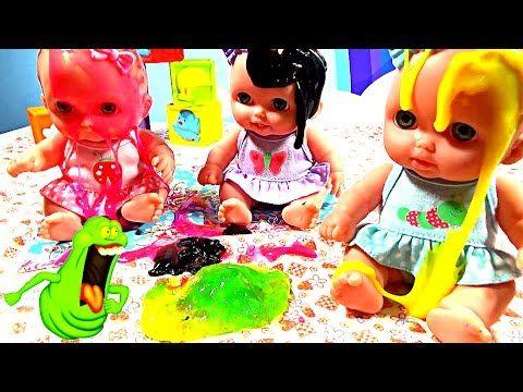 Куклы Пупсики купаются в Слизи Играют с Лизунами Дочки матери Игрушки дл...