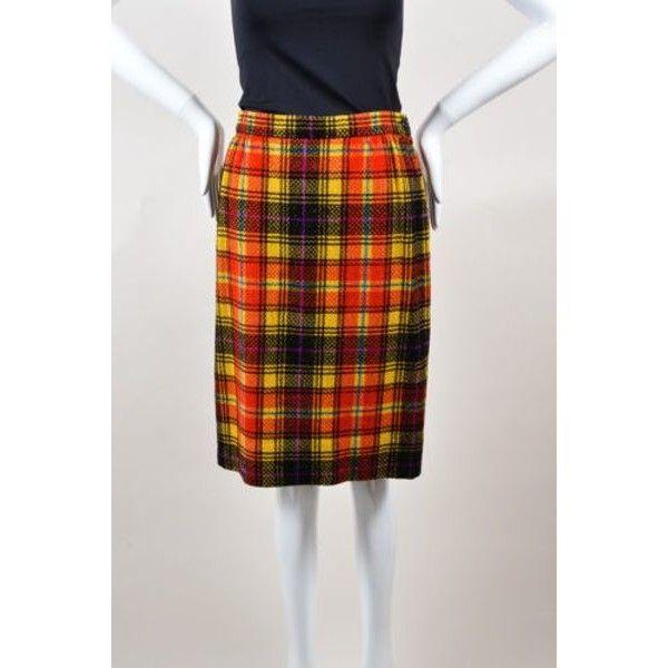 Pre-Owned Vintage Emanuel Ungaro Red Yellow Black Plaid Pencil Skirt... ($85) ❤ liked on Polyvore featuring skirts, multi, yellow plaid skirt, yellow pencil skirt, yellow tartan skirt, plaid pencil skirt and metallic pencil skirt