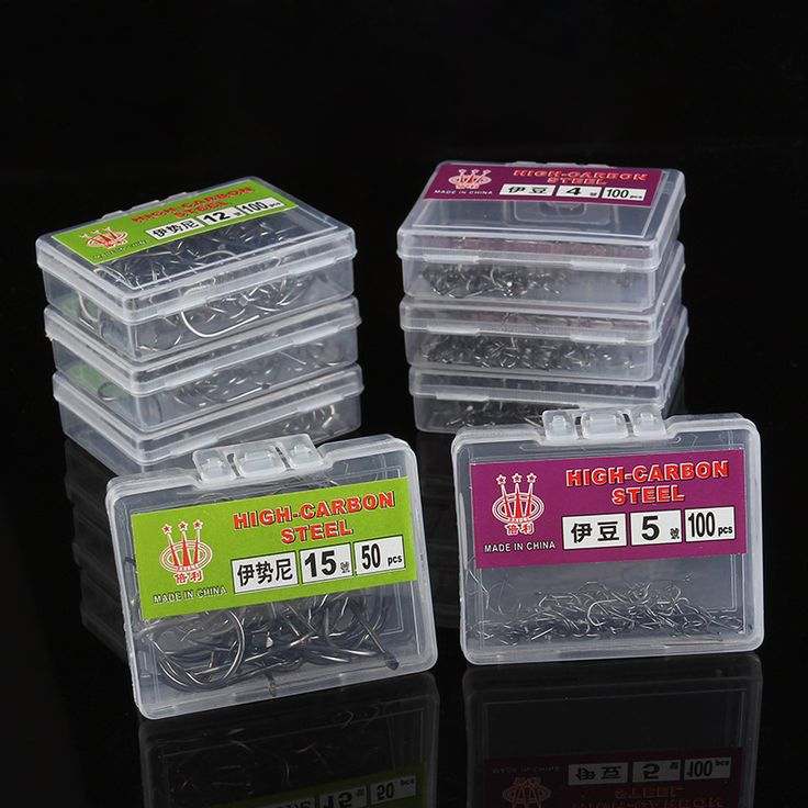 100 Unids 1 Caja de 1 Tamaños de Acero Carpa Anzuelos de Pesca Cabeza de La Plantilla juego de Pesca de Pesca de Alta carbonTackle carp ganchos de pesca con 1 #-12 #