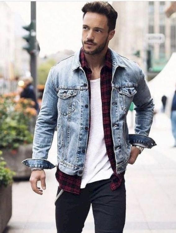 Magic Fox Fall Fashion Inspiration With A Light Wash Denim Jacket Red Black Plaid Flannel White T S Light Wash Denim Jacket Mens Winter Fashion Mens Outfits