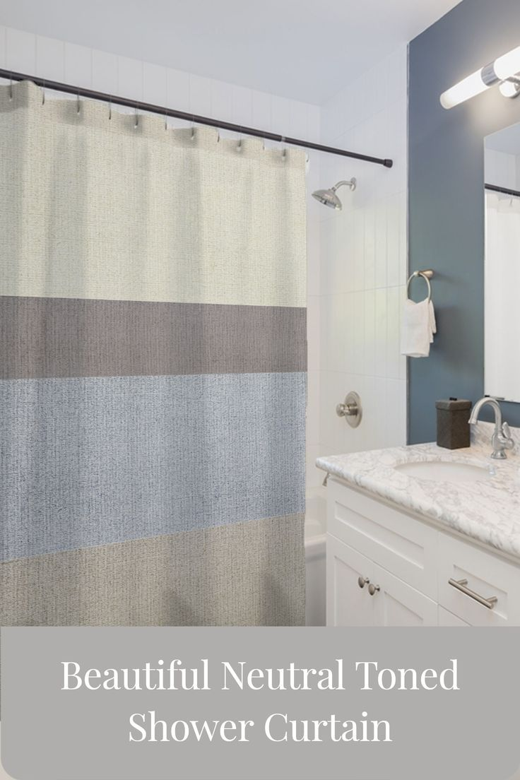 A Simple No Nonsense Earth Toned Bathroom Curtain That Goes Well
