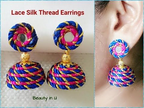 Easy and Simple Lace Silk Thread Earrings Tutorial | DIY - YouTube