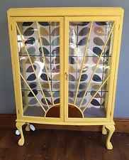 Yellow Vintage Art Deco Sunburst Display Cabinet Annie Sloan Orla Kiely