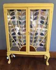 Yellow Vintage Art Deco Sunburst Display Cabinet Annie Sloan Orla Kiely
