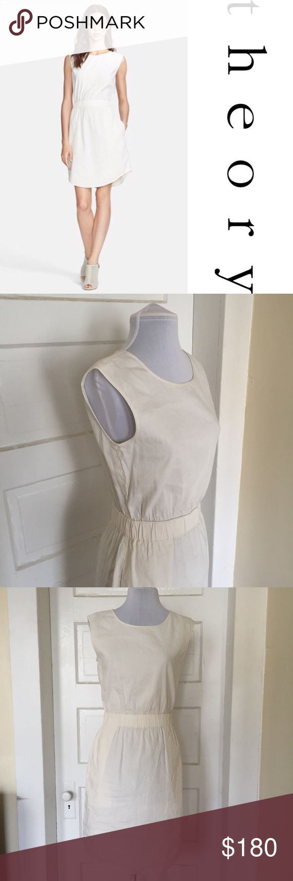 🆕{Theory} Lydan Off White Blouson Dress w Pockets NWT dress from the label Theory. Perfect for everyday, though I can totally picture a casual gal wearing this to her beach/backyard wedding! The linen blend fabric is so luxe! Size small, true to size. Features an elastic waist, mini length, and, of course, pockets! Theory Dresses Mini