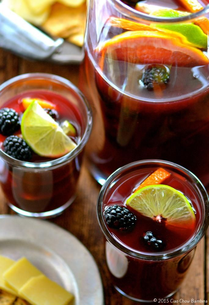 Winter Sangria with Blackberry, Pink Grapefruit and Lime