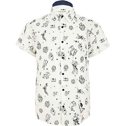 White tattoo print oversized shirt #riverisland #bloggerstyle