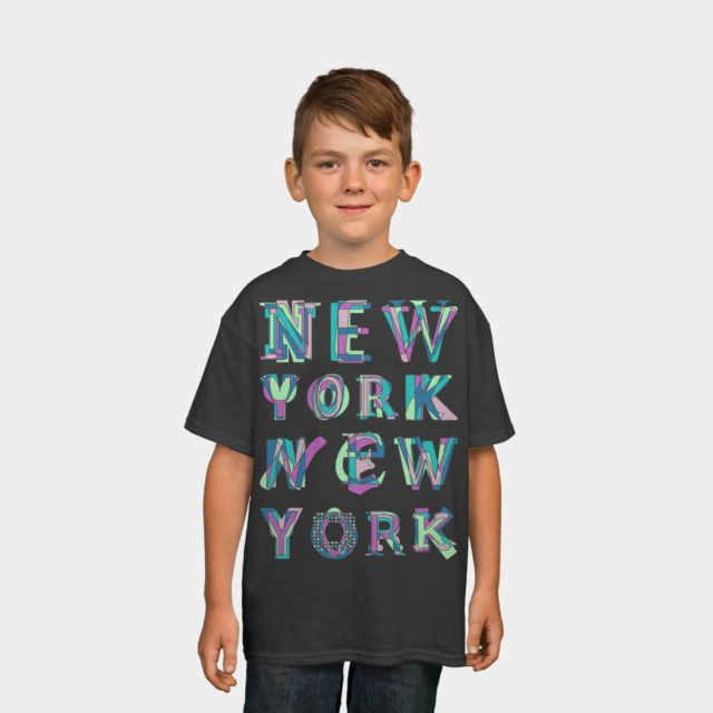 NYC Kids Tee by Fimbis available as a T Shirt, Phone Case, Tank Top, Crew Neck, Pullover, Zip, and Sticker. #fashion #NewYork #typography #NY #NewYorkCity #teal #bigapple #kidsfashion #children