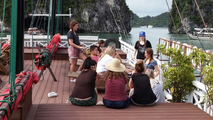 Enjoying time with friends while cruising this UNESCO World Heritage Site. #VietnamSchoolTours #HaLongBay #UNESCO