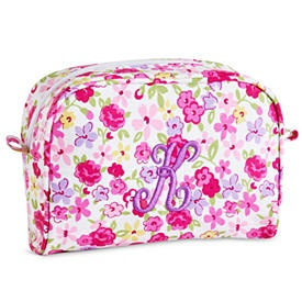 Large Cosmetic Bag - Pink Flower - Single Initial sister gift