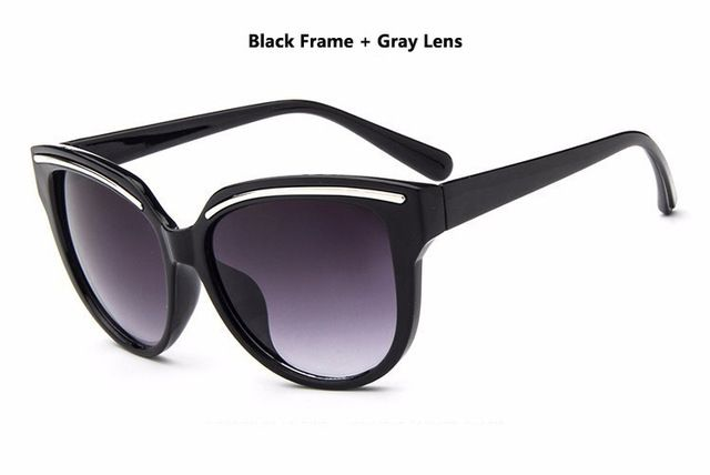 oculos de sol feminino 2016 Sunglasses Women Fashion Cat Eye Frame Mirror Sun Glasses Flat men Outdoor Sunglasses UV400  Black