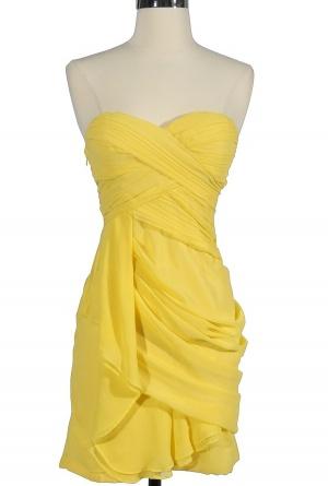 Chiffon drape dress in canary yellow by Minuet