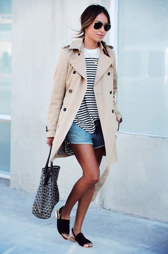 weekend look with slingback sandals, stripe shirt, shorts, and a classic trench