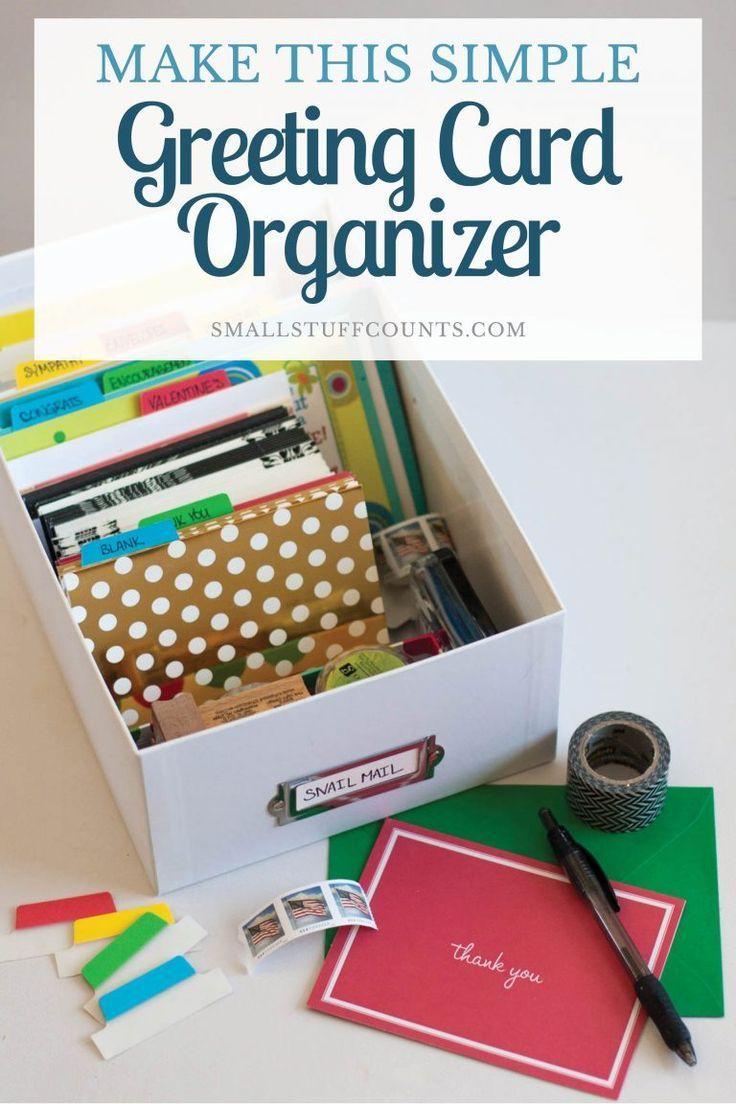 A Diy Greeting Card Organizer Greeting Card Organizer Greeting Cards Diy Greeting Card Storage
