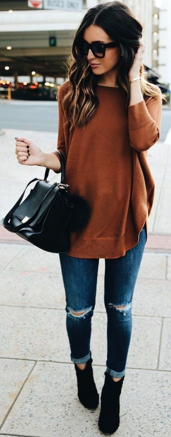 Rust/ brown sweater + distressed jeans + black suede booties/boots